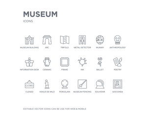 simple set of museum vector line icons. contains such icons as gioconda, souvenir, museum fencing, porcelain, venus de milo, closed, poetry, ballet, ink and more. editable pixel perfect.