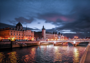 Paris at Night- Bridge, Palace and Island of city