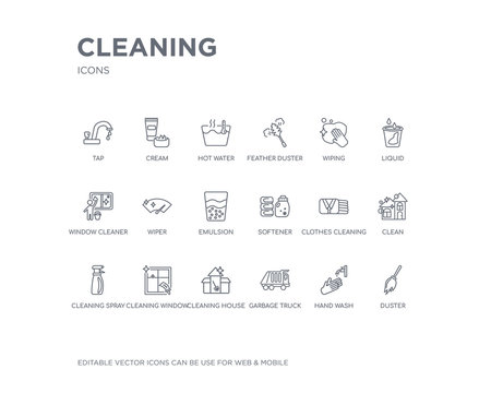 simple set of cleaning vector line icons. contains such icons as duster, hand wash, garbage truck, cleaning house, cleaning window, spray, clean, clothes softener and more. editable pixel perfect.