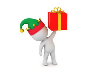 f6a700d574f5e 3D Character in Elf Hat Holding Up a Small Red Gift