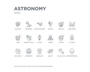 simple set of astronomy vector line icons. contains such icons as extraterrestrial, falling star, galaxy, gamma ray, generator, half moon, jet pack, jupiter, lander and more. editable pixel perfect.