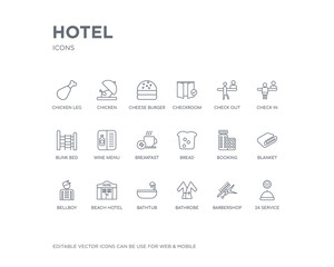 simple set of hotel vector line icons. contains such icons as 24 service, barbershop, bathrobe, bathtub, beach hotel, bellboy, blanket, booking, bread and more. editable pixel perfect.