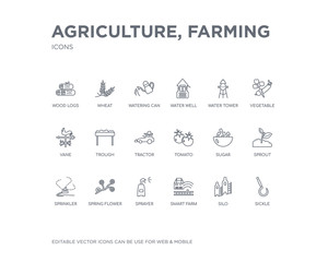 simple set of agriculture, farming vector line icons. contains such icons as sickle, silo, smart farm, sprayer, spring flower, sprinkler, sprout, sugar, tomato and more. editable pixel perfect.