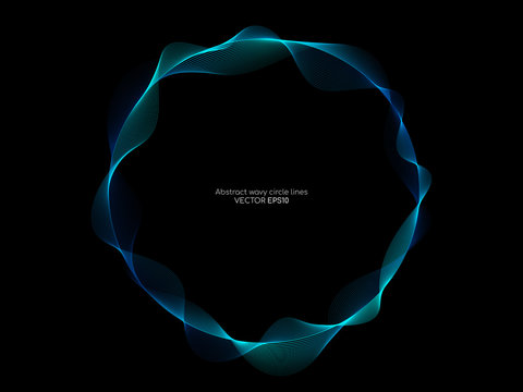 Vector abstract circle frame with wave lines pattern flowing in blue green colors isolated on black background in concept of music, technology, ai