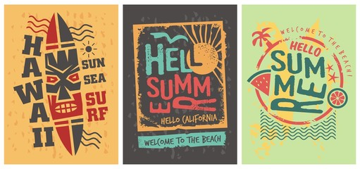 Summer shirts graphic designs set template. Tee print vectors. Hawaii, California, sun, ocean and surf.