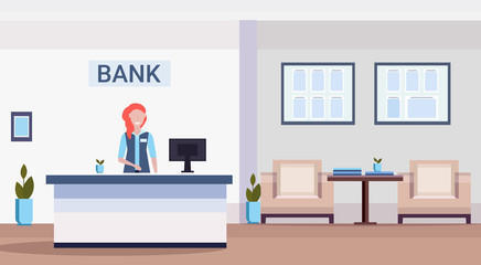 female specialist at reception counter financial consulting center with waiting room and reception modern bank office interior horizontal flat