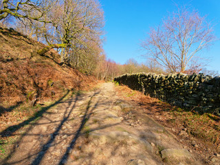 Long shadows point the way up a footpath in the Derbyshire Peak District