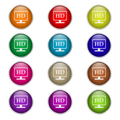 set of round color icons hd video