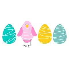 vector colorful bright cute bird eggs Easter illustration simple cartoon childish pattern on white