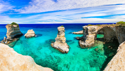Best beaches and sea of Italy . Puglia - Torre di sant Andrea, natural rock formations Wall mural