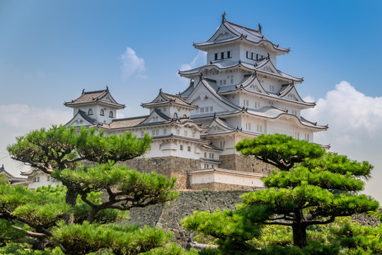 Himeji Japanese hilltop castle. Regarded as the finest surviving example of Japanese castle architecture, with advanced defensive systems from the feudal period. Also known as the White Heron Castle.