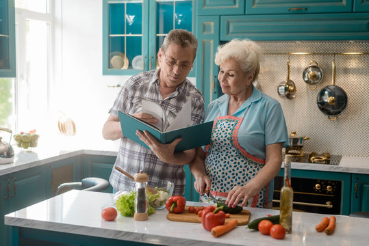 Senior couple cooking a meal