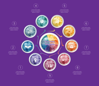 Polygonal infographics. For designs on 9 positions colorful circles with triangles and polygons in a circle
