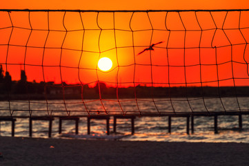 Sunset at the beach with the volleyball net