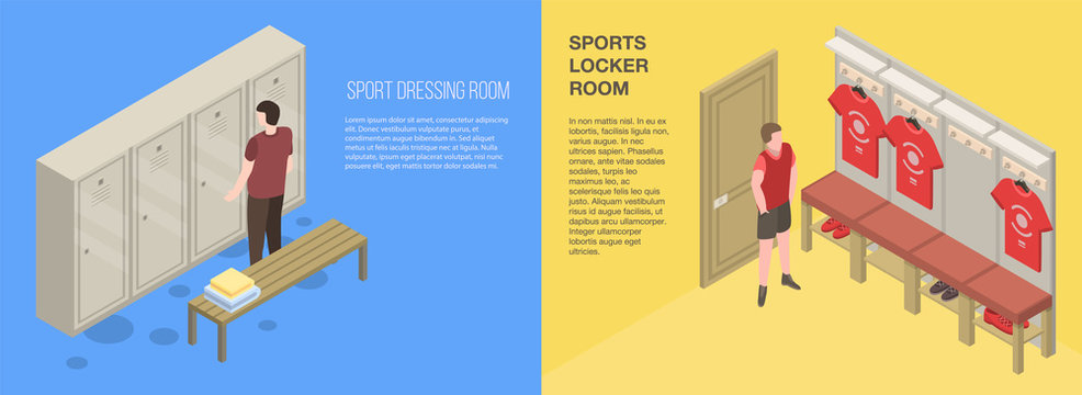 Dressing room banner set. Isometric set of dressing room vector banner for web design