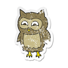 retro distressed sticker of a cartoon owl