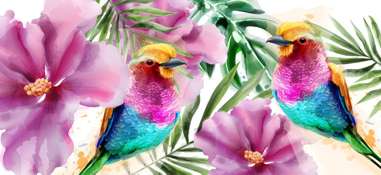 Colorful birds and flowers watercolor Vector. Tropic card backgrounds