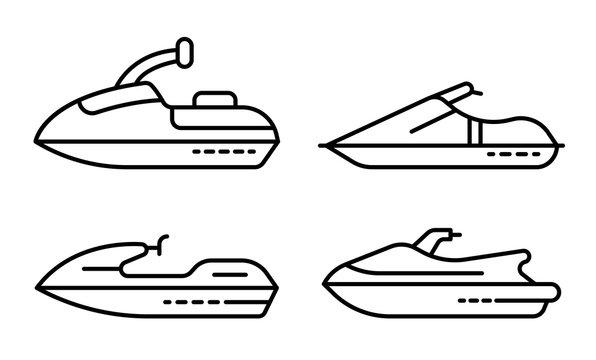 Jet ski icons set. Outline set of jet ski vector icons for web design isolated on white background
