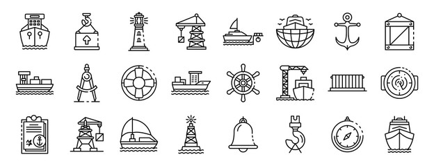 Marine port icons set. Outline set of marine port vector icons for web design isolated on white background Fotomurales