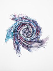 Multicolor scarf on white background. Top view.