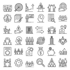 Corporate governance icons set. Outline set of corporate governance vector icons for web design isolated on white background