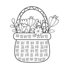 cute basket straw with flowers garden