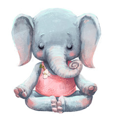 cute elephant makes yoga