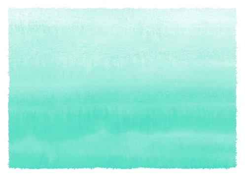 Mint green, sea foam, aqua color watercolor background with gradient parallel stains. Hand drawn abstract fill, watercolour painted texture. Aquarelle sea, swimming pool water template.