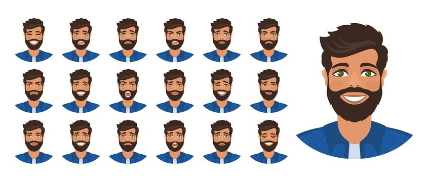 Set of  different male facial emotions. Man with a beard is smiling, crying, laughing, sad, shouting, angry, thinking. Flat cartoon character isolated on a white background. Vector illustration.