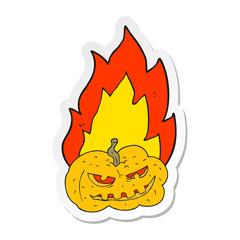 sticker of a cartoon flaming halloween pumpkin