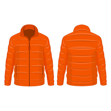 Orange winter zipped down jacket isolated vector on the white background