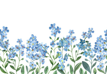 watercolor seamless border of blue forget-me-not with green leaves on white background