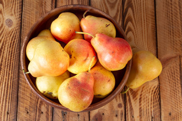 Close Pear Bowl Ripe Organic Pears Rustic Wood Top View