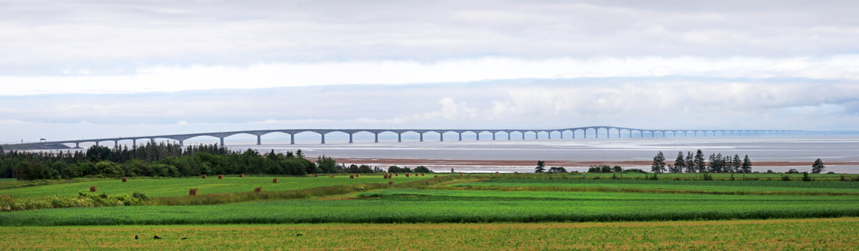 Panorama Photo of the Prince Edward Island Confederation Bridge, North side.  PEI, Canada. Cloudy Day