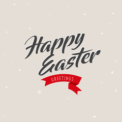 Happy Easter holiday vector greeting card template.