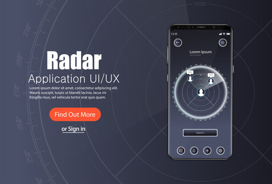 Mobile app, Radar screen template with modern design. Applications for finding people nearby (dating, sharing, sales, hobbies, bluetooth, wi-fi). Radar UI, UX, KIT  application template