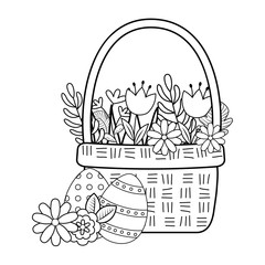 cute basket straw with flowers