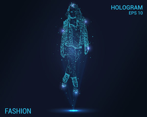 Fashion hologram. Digital and technological fashion background. Futuristic fashion design.