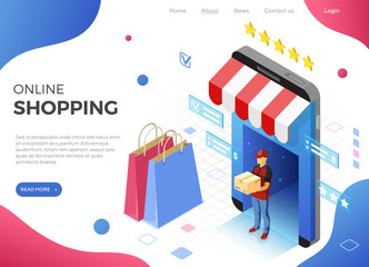 Online Internet Shopping Delivery Isometric Concept