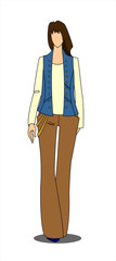 Standing girl with dark hair in a vest, pullover and pants. Vector image isolated.