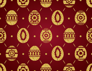 Seamless pattern of golden Easter eggs isolated on red background. Gold Easter Eggs decorated with flowers. Print design, label, sticker, scrap booking, vector illustration