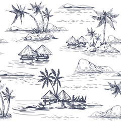 Seamless patterns with tropical landscapes, palm trees, hawaii. Hand drawn style. Vector outline