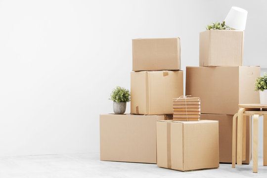 Moving to a new home. Belongings in cardboard boxes, books and green plants in pots stand on the gray floor against the background of a white wall.