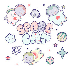 Kawaii cute cats astronauts flying in space, among the planets and the inscription lettering Space Cat