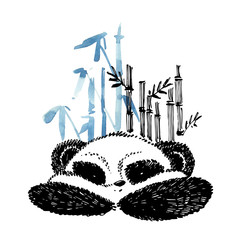 Cute panda in graphic style with bamboo. Ink hand drawn illustration.