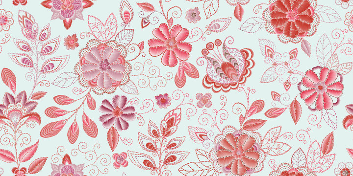 Embroidery seamless pattern with beautiful flowers. Vector handmade floral ornament. Embroidery for fashion products. Elegant tiled design, best for print fabric or papper and more.