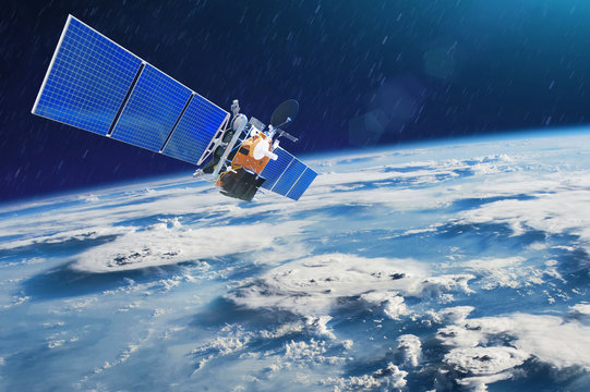 Weather satellite for observing powerful thunderstorms of storms and tornadoes in space orbiting the earth. Elements of this image furnished by NASA
