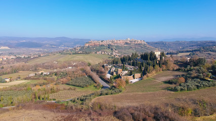 View on the old town Orvieto, Umbria, Italy. Aerial panorama