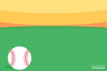 Vector Illustration. Baseball ball icon. Ball field background. Sport activity background.
