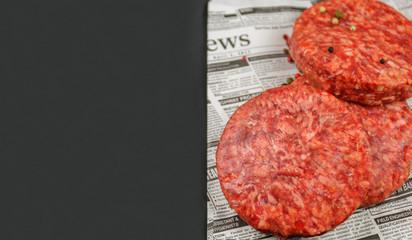 carne fresca de hamburgesa